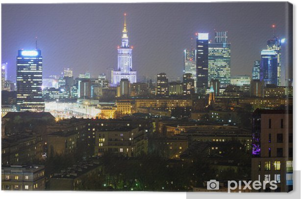 Panorama of Warsaw by night Canvas Print - Themes