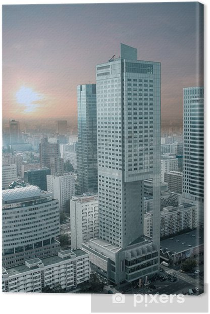 Panorama of Warsaw from The Palace of Culture and Science. Canvas Print - Themes