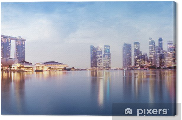 Panoramic image of Singapore`s skyline at night. Canvas Print - Themes
