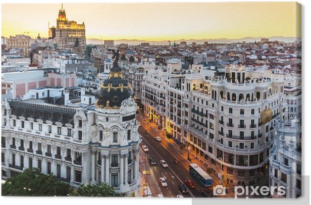 Panoramic view of Gran Via, Madrid, Spain. Canvas Print - Themes