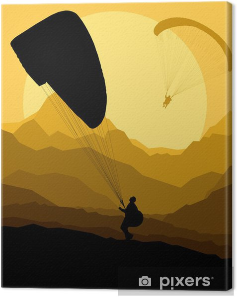 Paragliding vector background landscape concept vector Canvas Print - Other Feelings