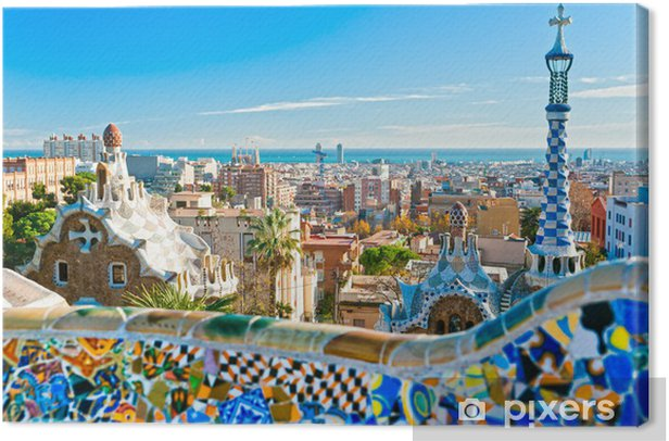 Park Guell in Barcelona, Spain. Canvas Print - Themes