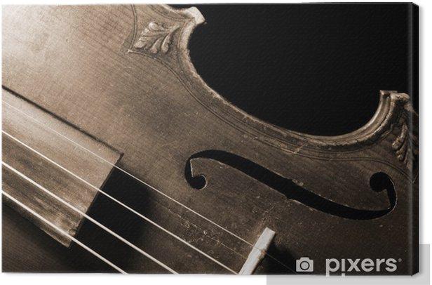 Part of vintage violin on black background Canvas Print - Music