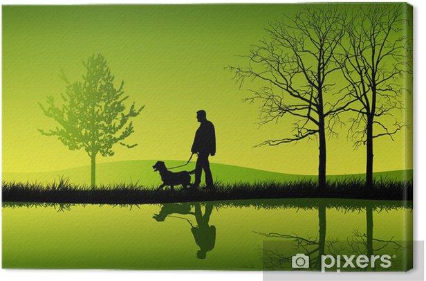 Paseando al perro Canvas Print - Themes