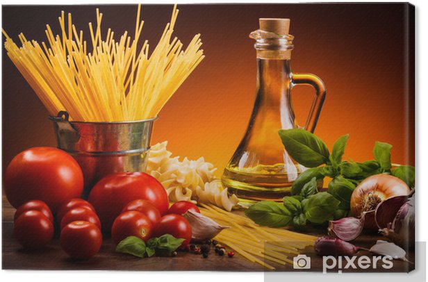 Pasta and fresh vegetables Canvas Print - Themes