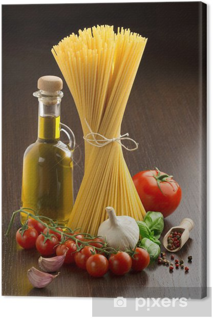 pasta with fresh vegetables and spices Canvas Print - Themes