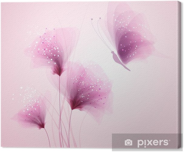 Pastel butterfly and delicate flowers Canvas Print - Themes