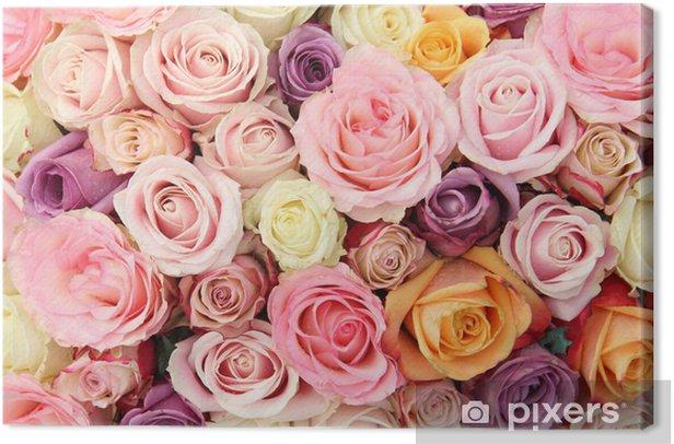 Pastel wedding roses Canvas Print - Themes