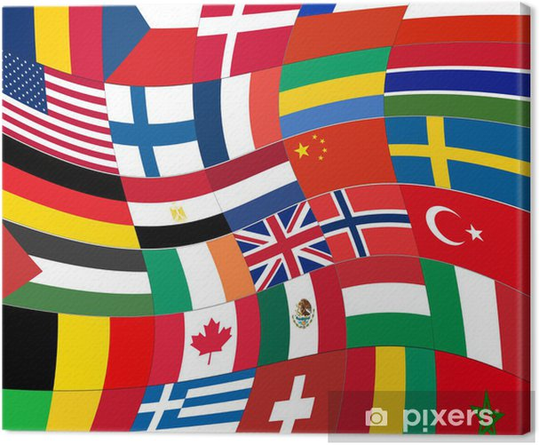 patchwork of world flags abstract background vector Canvas Print - Themes