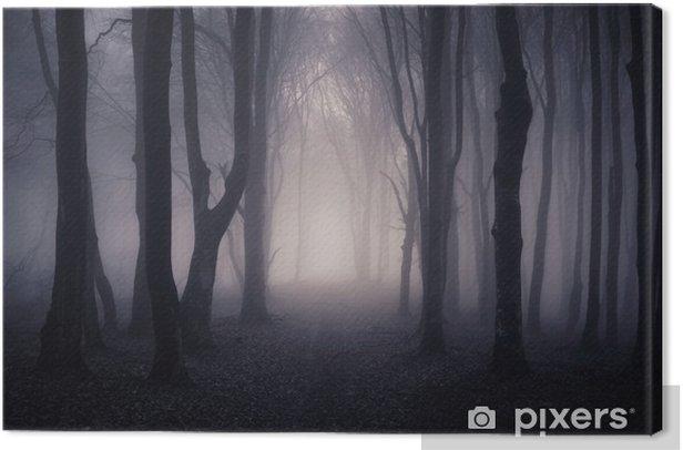 path through a dark forest at night Canvas Print - Themes
