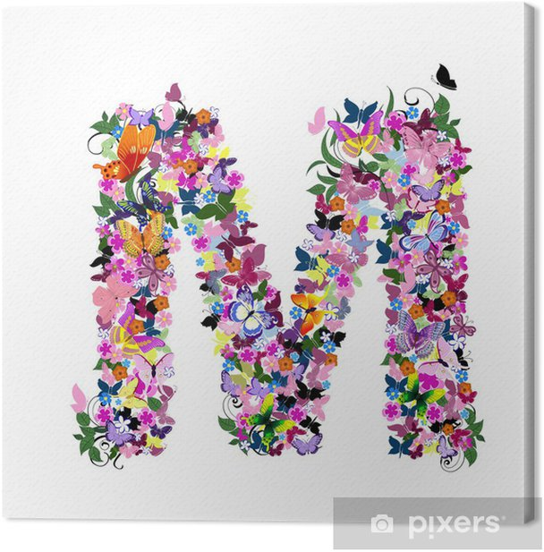 Pattern letter of butterflies and flowers Canvas Print - Art and Creation