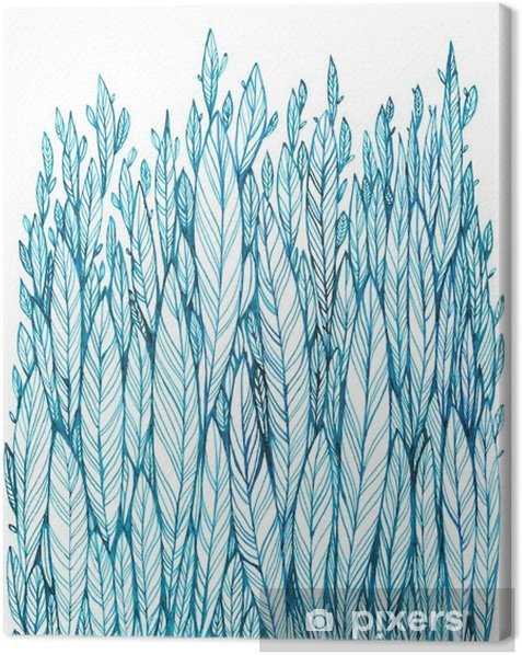 pattern of blue leaves, grass, feathers, watercolor ink drawing Canvas Print - Plants and Flowers
