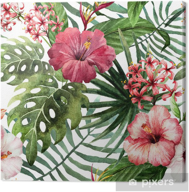 pattern orchid hibiscus leaves watercolor tropics Canvas Print - Trees