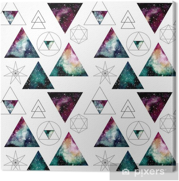 Pattern with Watercolor Nebula in Triangles and Sacred Geometry Canvas Print - Graphic Resources