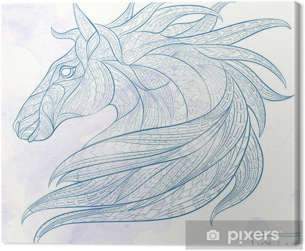 Patterned head of the horse on the grunge background. African / indian / totem / tattoo design. It may be used for design of a t-shirt, bag, postcard, a poster and so on. Canvas Print - Animals