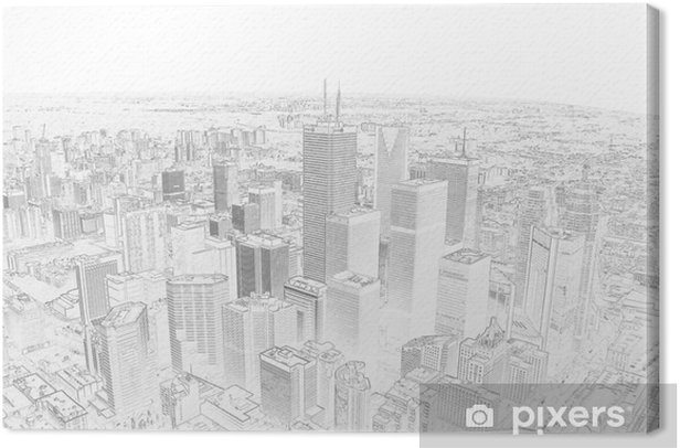 pencil drawing of a toronto city skyline Canvas Print - Styles