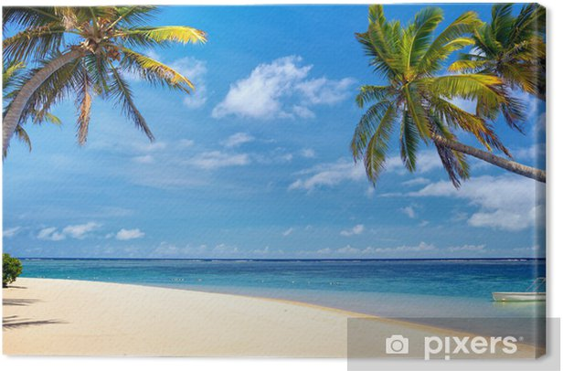 Perfect tropical beach with palms and sand, Mauritius Canvas Print - iStaging