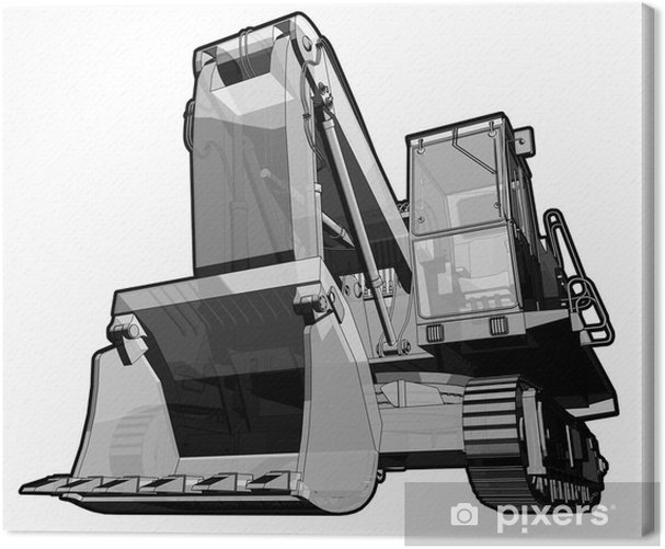 Perspective illustration of a digger in black and white. Canvas Print - On the Road