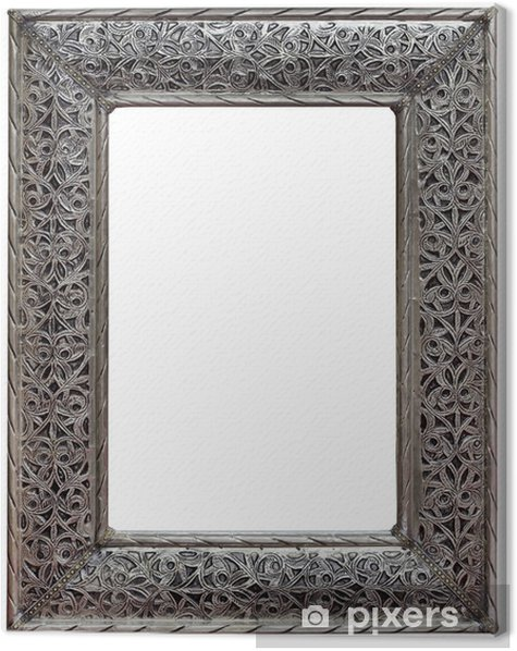 Pewter Mirror Frame Cutout Canvas Print - Home and Garden