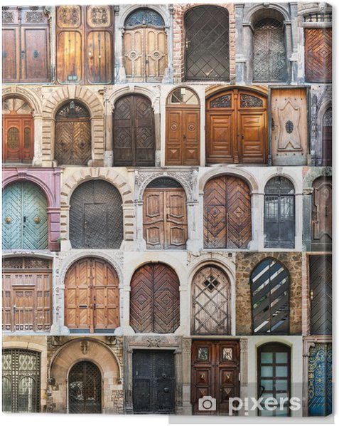 photo collage of old doors Canvas Print - European Cities