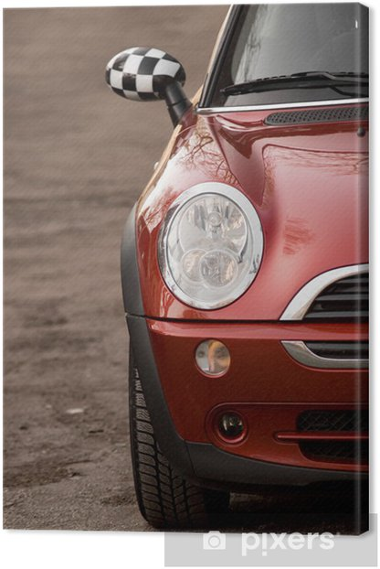 Photo of red Mini, in the nature Canvas Print - On the Road
