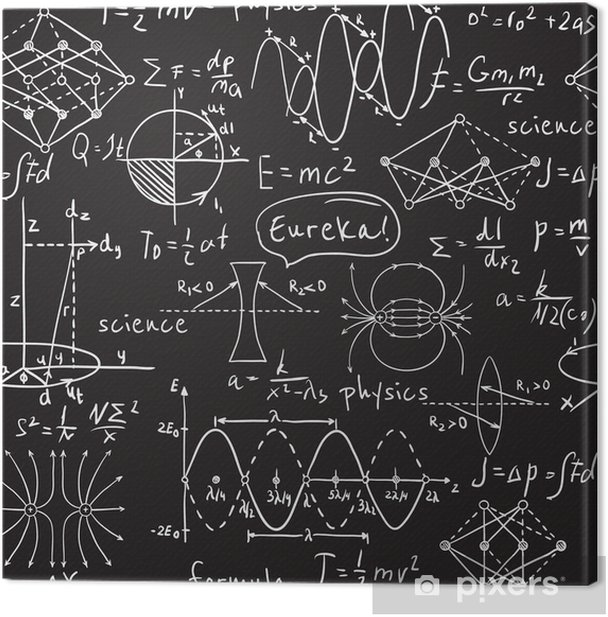 Physical formulas, graphics and scientific calculations on chalkboard. Vintage hand drawn illustration laboratory seamless pattern Canvas Print - Science