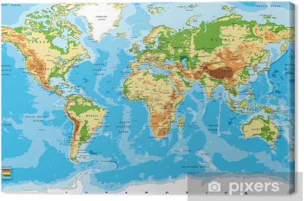 Physical map of the world Canvas Print - Other