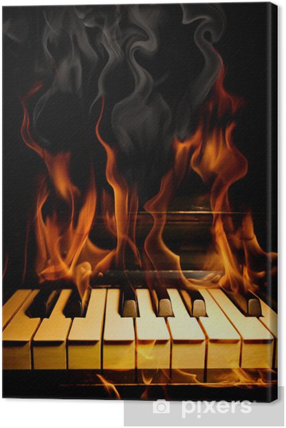 Piano in flames Canvas Print - Textures