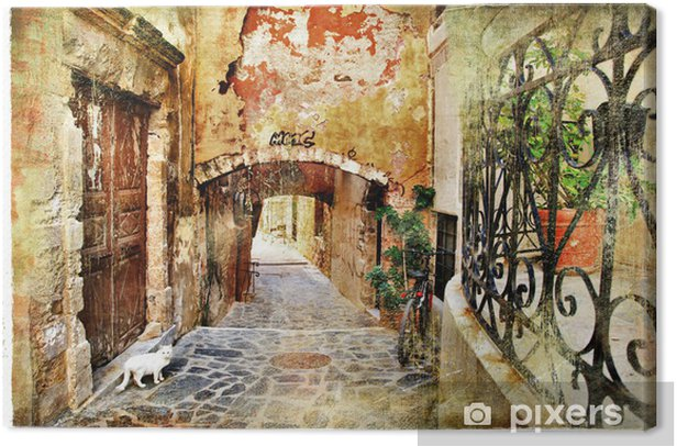 pictorial old streets of Greece, Crete Canvas Print - Themes