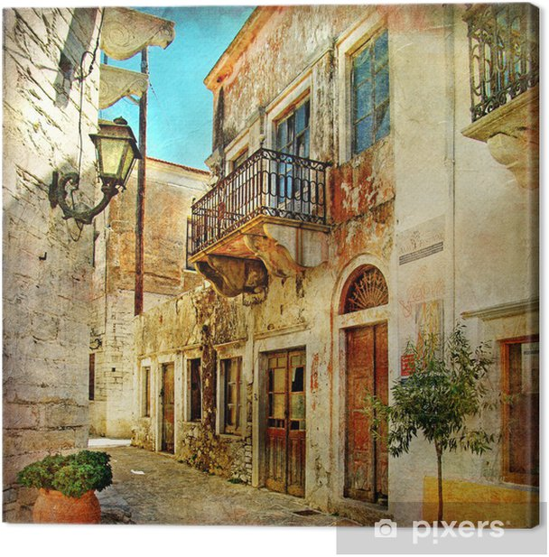 pictorial old streets of Greece Canvas Print -