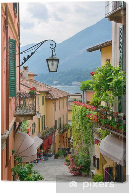 Picturesque small town street view in Lake Como Italy Canvas Print - iStaging