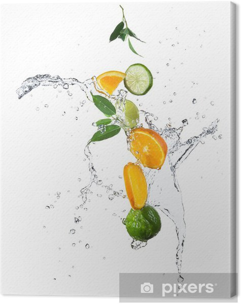 Pieces of oranges and limes in water splash Canvas Print - Wall decals