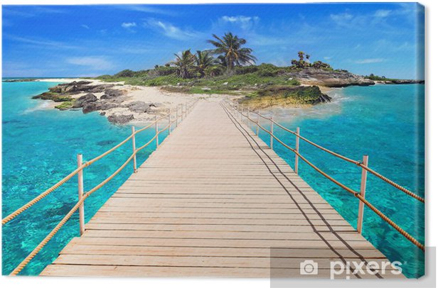 Pier to the tropical island of Caribbean Sea Canvas Print - Palm trees