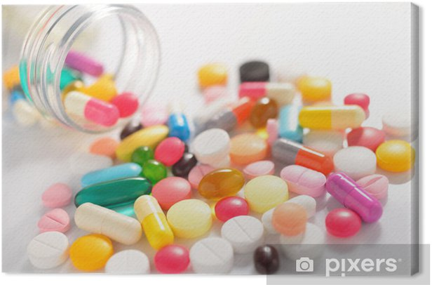 Pills and capsules on white Canvas Print - Health and Medicine