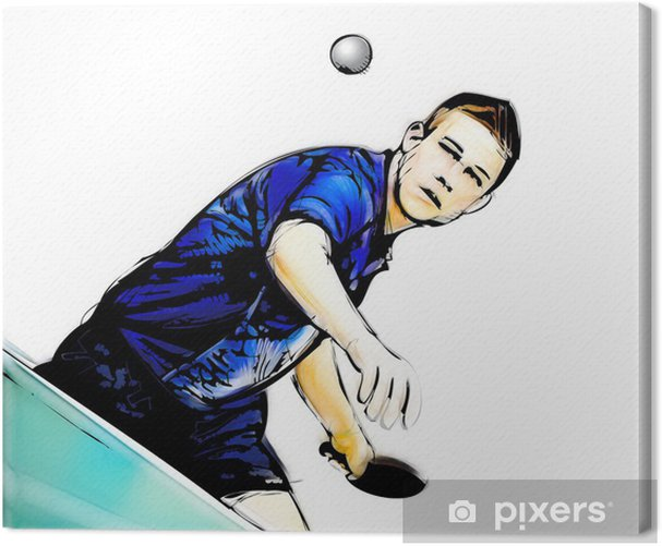 ping pong player illustration Canvas Print - Outdoor Sports