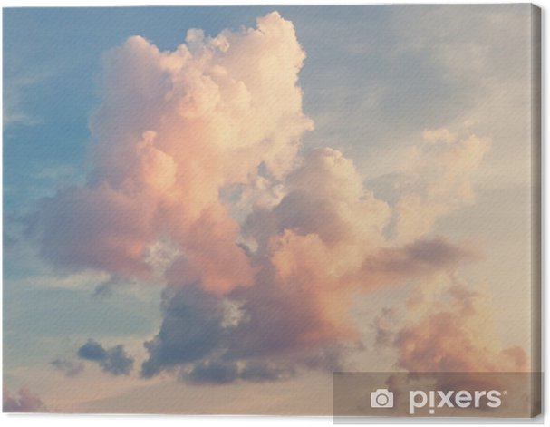 Pink clouds against a blue sky Canvas Print -