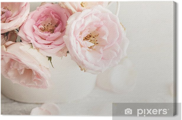 pink flowers in a vase Canvas Print - Themes