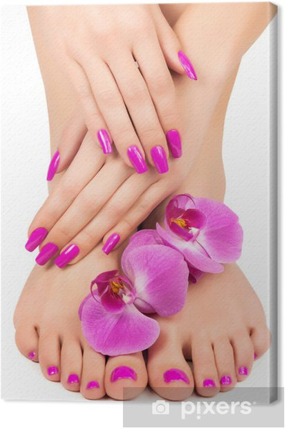 pink manicure and pedicure with a orchid flower Canvas Print - Destinations