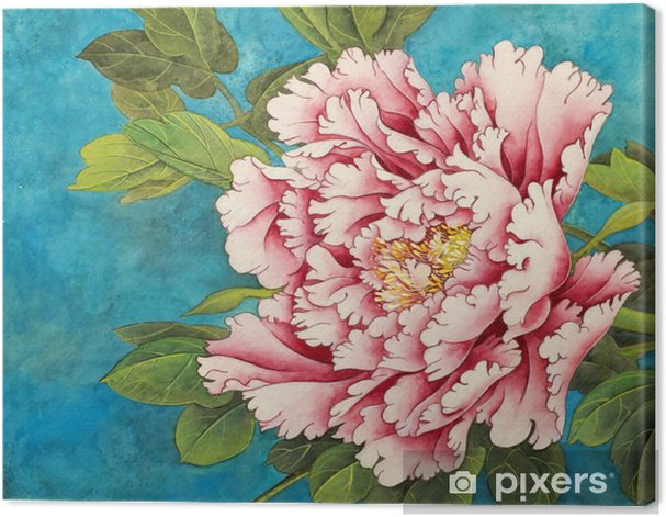 pink peony on a blue background Canvas Print - Plants and Flowers