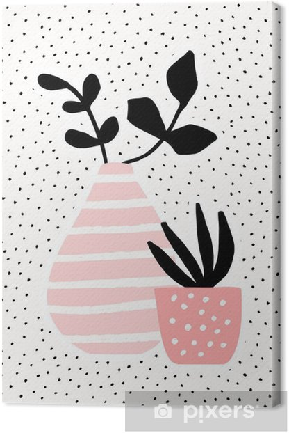 Pink Vase and Pot with Plants Canvas Print - Plants and Flowers