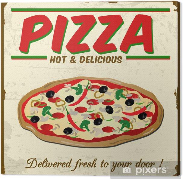Pizza Vintage Grunge Poster Vector Illustration Canvas Print