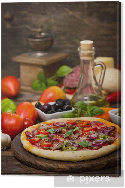 Pizza with ham, mushrooms and cheese Canvas Print - Themes