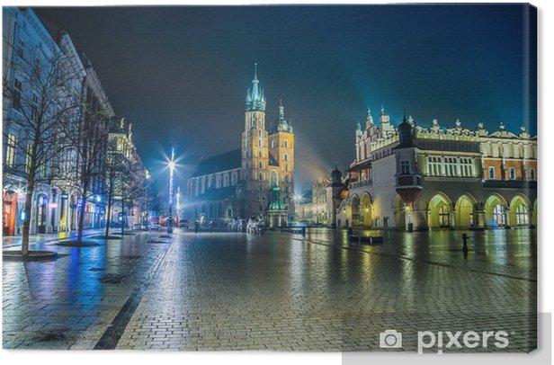 Poland, Krakow. Market Square at night. Canvas Print - Themes