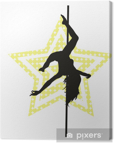 Pole dancer woman on star background. Vector silhouette Canvas Print - Entertainment