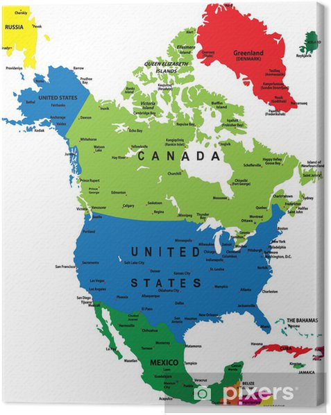 Political map of North America Canvas Print - Themes