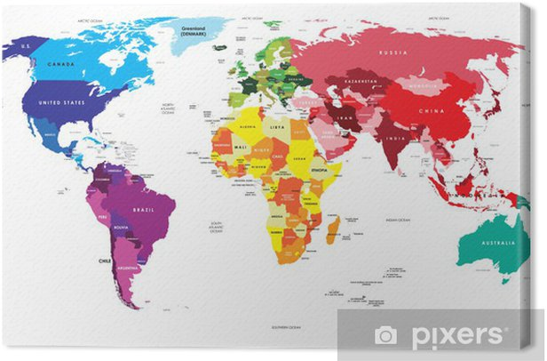 Political Map of the World Canvas Print - Themes