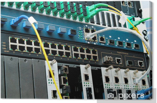 PON Technology center with fiber optic equipment Canvas Print - Signs and Symbols