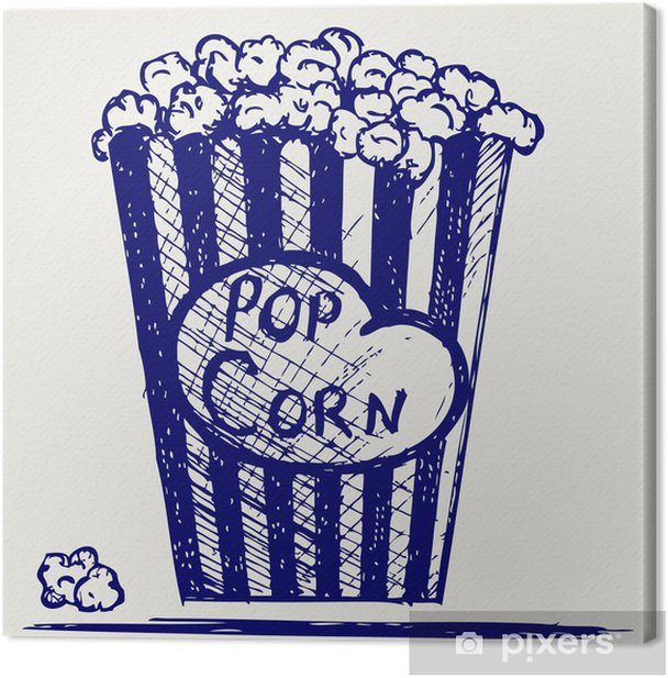 Popcorn exploding inside the packaging. Doodle style Canvas Print - Entertainment