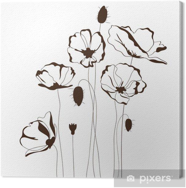 Poppy design, floral background Canvas Print - Flowers