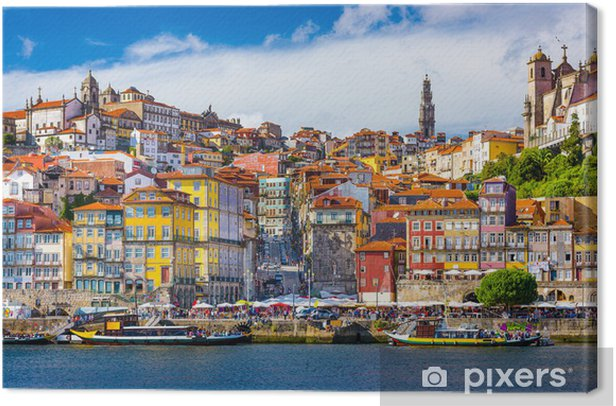Porto, Portugal Old City Skyline on the Douro River Canvas Print - iStaging